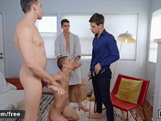 Four Stunning Muscular Fraternity Brothers Bareback Each Other Until They Cum - Men | bareback   brothers   cums   mens   muscular
